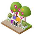 isometric woman and man typing on laptop live vector image