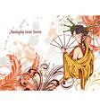 japanese grunge floral background vector image vector image