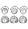 man and woman with different facial expressions vector image vector image