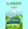 mother father and kids left city for summer trip vector image vector image