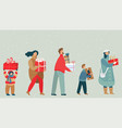 people cartoon characters carrying christmas vector image vector image
