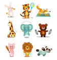 set cute colorful playing animals in different vector image