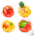 set fruit juice splash strawberry pineapple vector image vector image