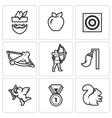 Set of Archery Icons Robin Hood Apple vector image vector image