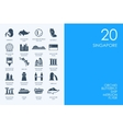 Set of BLUE HAMSTER Library Singapore icons vector image