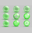 set of transparent and opaque green spheres vector image vector image