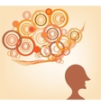 Silhouette of a man with ideas vector image