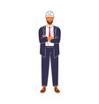 smiling construction foreman in suit and hard hat vector image vector image