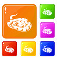 snake icons set color vector image vector image
