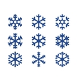 snowflake blue icons set vector image vector image