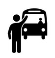 stick figure man stopping waving at bus black vector image