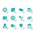 stylized casino and gambling icons vector image