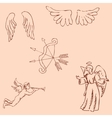 The Angels Pencil sketch by hand Vintage colors vector image vector image