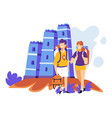 tourism sightseeing couple with backpacks ancient vector image vector image