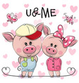two pigs on a hearts background vector image vector image