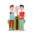 two young smoking men color vector image