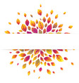 white paper stripe banner on red autumn leaves vector image