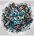 World snow day hand drawn cartoon doodles