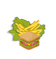 sandwich with salad and french fries vector image