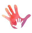 small hand in big hand water colour texture vector image