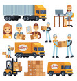 warehouse workers cartoon characters - vector image