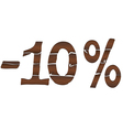 10 Wood percentage icon - isolated on the white vector image