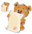 a brown teddy bear misses vector image vector image