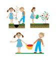 a set of drawings of children working in the vector image vector image