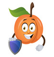 apricot with shield on white background vector image vector image