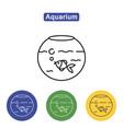 aquarium line icons vector image vector image