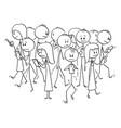 cartoon crowd people walking on street vector image