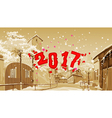 cartoon street of old town winter date 2017 vector image vector image