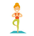 caucasian white woman practicing yoga tree pose vector image