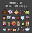 doodle collection of colored sketches of teapots vector image