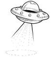 doodle ufo spaceship vector image vector image