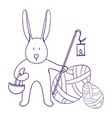 easter rabbit holds a basket and a vector image vector image