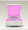 encrusted silver ring in white square box vector image vector image