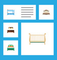 flat bed set of mattress bedroom bunk bed and vector image vector image
