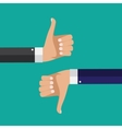 Flat Design Thumbs Up and Down Background vector image vector image