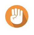 Four fingers gesture vector image
