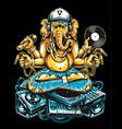 ganesha dj sitting on electronic musical stuff vector image vector image
