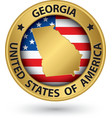 Georgia state gold label with state map vector image vector image