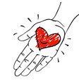give away his heart - hand with red-pink heart vector image vector image