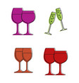 glasses icon set color outline style vector image vector image