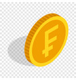 gold coin with swiss frank sign isometric icon vector image vector image
