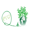 Green earth with bike reduce CO2 vector image vector image