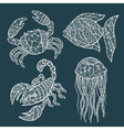 Handmade stylized set of zentangle vector image vector image