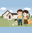 happy family with pet dog moving to new home vector image vector image