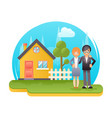 happy young family with new house real estate vector image vector image