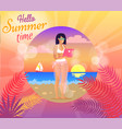 hello summer time poster vector image vector image